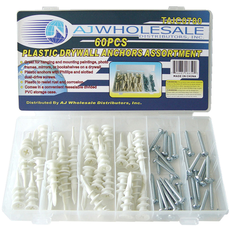 AJTools -60PC PLASTIC DRYWALL ANCHOR 24/C