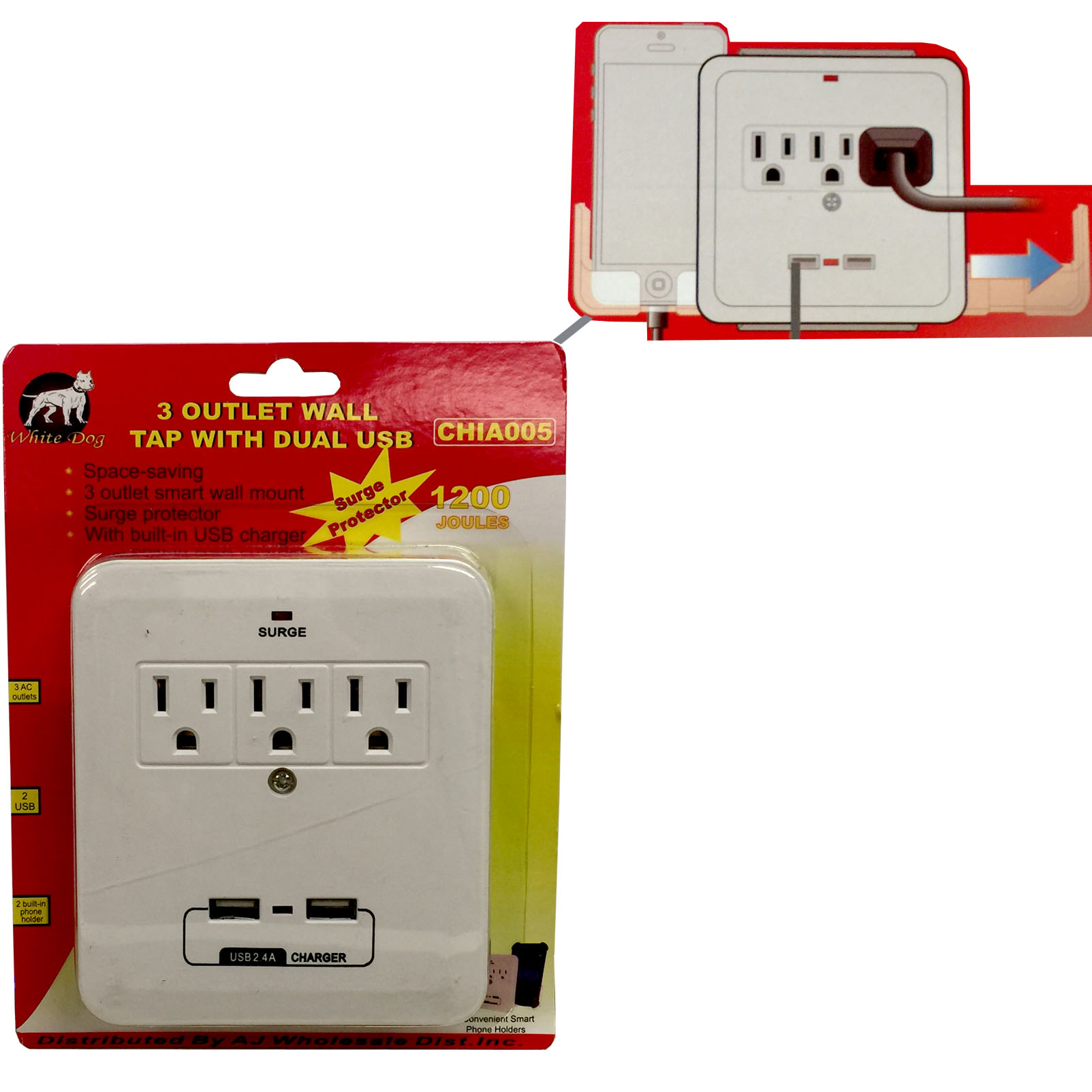 AJTools -3 OUTLET SURGE PROTECTOR WITH USB PORTS